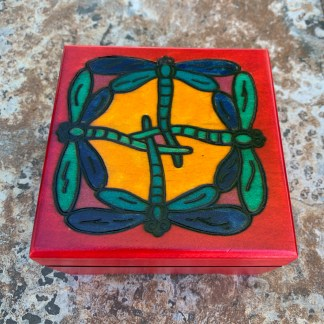 Handcrafted Colorful Dragonflies Box