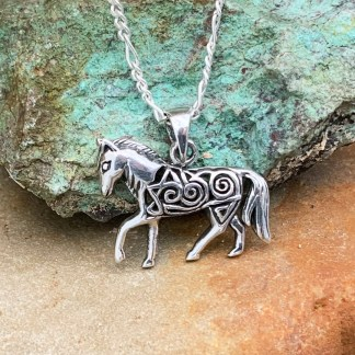 Sterling Filigree Horse Pendant