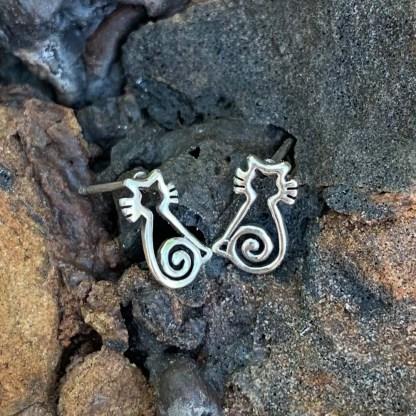 Sterling Cat Stud Earrings