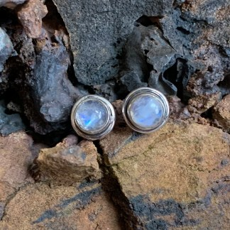Sterling Rainbow Moonstone Studs