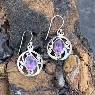Amethyst & Sterling Silver Dangle Earrings