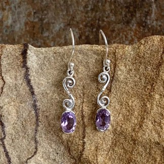 Amethyst & Sterling Twist Earrings
