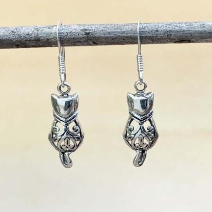 Sterling Filigree Cat Earrings