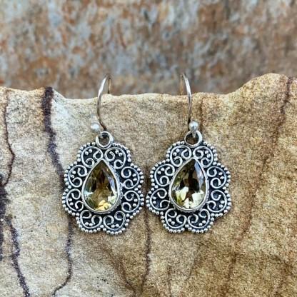 Citrine & Sterling Dangle Earrings