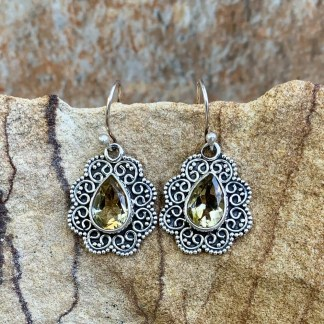 Citrine & Sterling Dangle Earrings