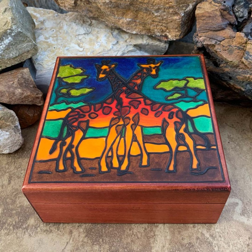Handcrafted Giraffe Duo Box