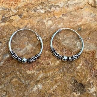 Sterling Bali Hoop Earrings