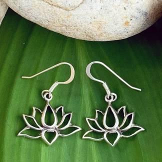 Sterling Lotus Dangle Earrings