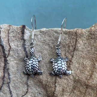 Sterling Turtle Dangle Earrings