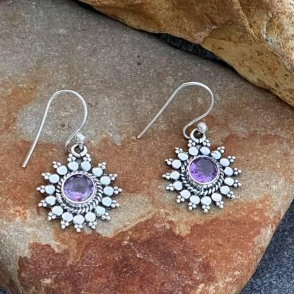 Amethyst & Sterling Sunburst Earrings