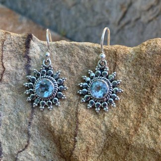 Blue Topaz Sunburst Earrings