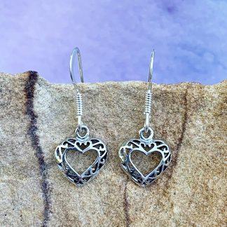 Open Heart Sterling Earrings