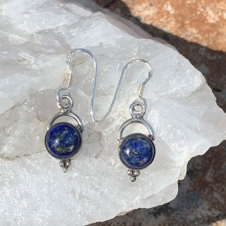 Lapis & Sterling Stirrup Earrings