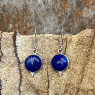 Round Lapis Dangle Earrings