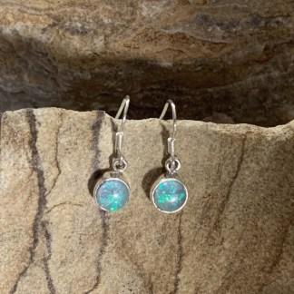 Opal & Sterling Round Earrings