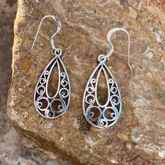 Sterling Lacy Hoop Earrings