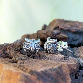 Sterling Plump Owl Earrings
