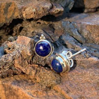 Lapis Lazuli Dot Earrings