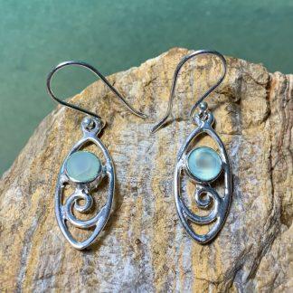 Aqua Chalcedony Wave Earrings