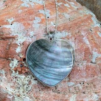 Abalone & Sterling Heart Pendant