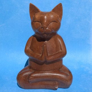Meditating Hand Carved Cat