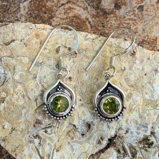 SterlinSterling & Peridot Dangle Earrings