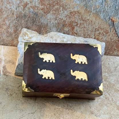 Wooden Box with Brass Elephants
