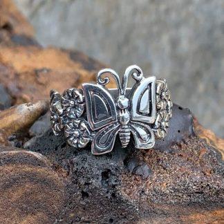 Sterling Butterfly Garden Ring