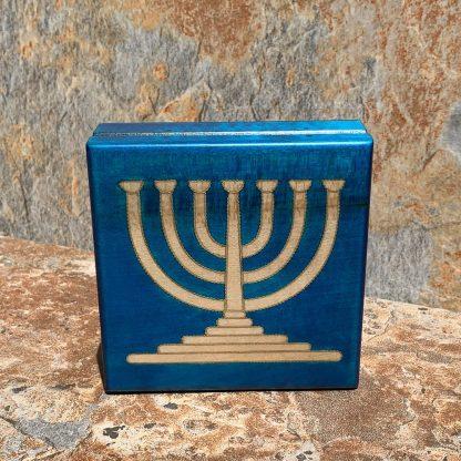 Blue and Brass Menorah Box