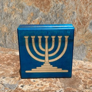 Blue and Brass Menorah Box