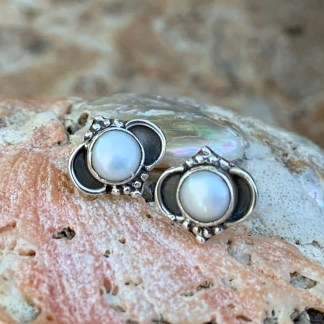 Pearl & Sterling Stud Earrings