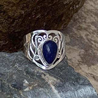 Lapis Lazuli Teardrop Sterling Silver Bracelet with Wing Charm
