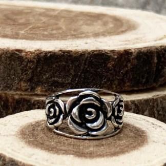 Triple Rose Silver Ring