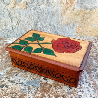 Handcrafted Carved Rose Box