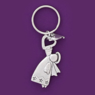 Angel Heart Pewter Keychain