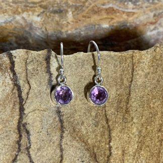 Amethyst Round Dangle Earrings