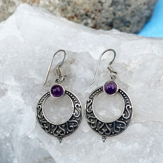Amethyst & Sterling Hoop Earrings
