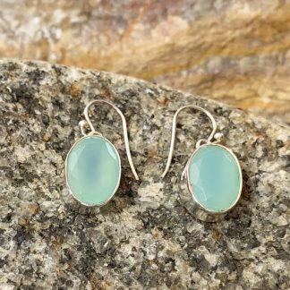 Chalcedony & Silver Dangle Earrings