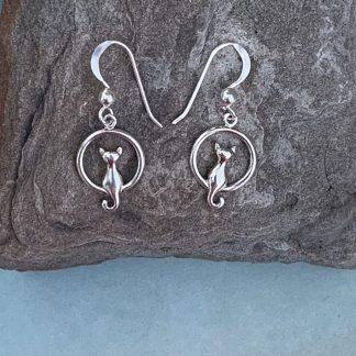 Sterling Cat Circle Earrings