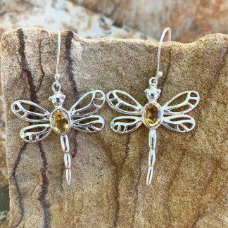 Citrine & Sterling Dragonfly Earrings