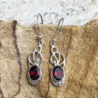 Silver Ribbons & Garnet Earrings