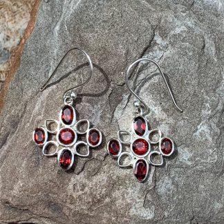 Garnet & Sterling Modern Earrings