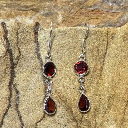 Garnet Double Drop Earrings