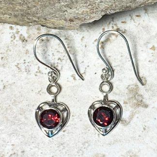 Garnet Heart Drop Earrings