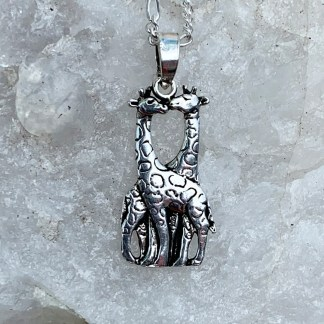 Sterling Giraffes Kissing Pendant