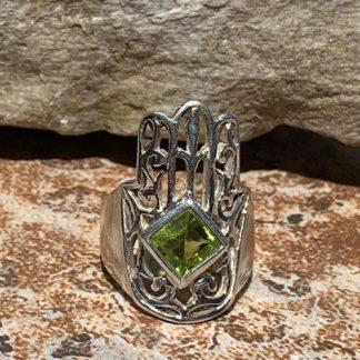 Peridot Hamsa Sterling Ring
