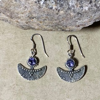 Iolite & Silver Fan Earrings