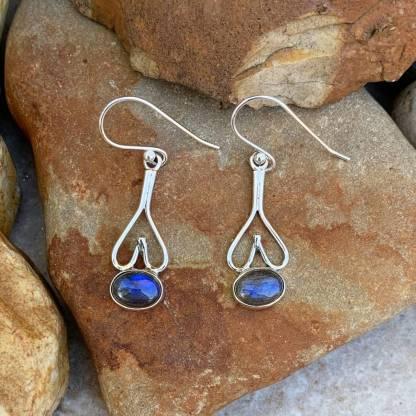 Labradorite Sterling Heart Earrings
