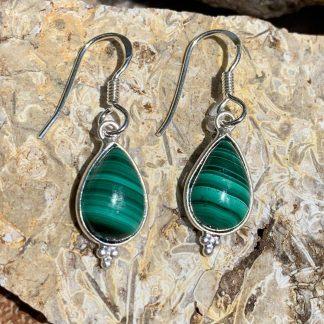 Malachite & Sterling Dangle Earrings