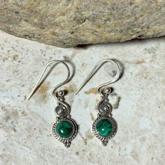 Malachite & Sterling Silver Earrings